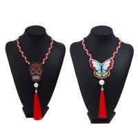 Stoff Halskette, mit Caddice & ABS-Kunststoff-Perlen & Zinklegierung, mit Verlängerungskettchen von 5cm, bestickte & verschiedene Stile für Wahl & für Frau, 450mm, verkauft per ca. 17.5 ZollInch Strang