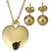Zinklegierung Schmucksets, Ohrring & Halskette, Edelstahl, Herz, goldfarben plattiert, Oval-Kette & für Frau, 22x25mm, 2mm, 8mm, Länge:ca. 19 ZollInch, verkauft von setzen