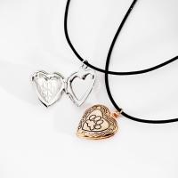 Messing Medaillon-Halskette, mit PU Leder, mit Verlängerungskettchen von 1.9Inch, Herz, plattiert, für Frau & Emaille, keine, frei von Nickel, Blei & Kadmium, 20x20mm, verkauft per ca. 13.7 ZollInch Strang