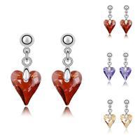 CRYSTALLIZED™ Kristall Ohrring, Messing, mit CRYSTALLIZED™, Herz, platiniert, für Frau & facettierte, keine, frei von Nickel, Blei & Kadmium, 11x24mm, verkauft von Paar