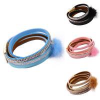 Baumwollsamt Armband, mit Plüsch & Eisenkette, goldfarben plattiert, Kugelkette & für Frau & mit Strass & 2 strängig, keine, 20mm, verkauft per ca. 23.5 ZollInch Strang