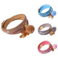 Baumwollsamt Armband, mit Plüsch & Eisenkette & Zinklegierung, goldfarben plattiert, mit Bemaltung & Twist oval & für Frau & 2 strängig, keine, 35mm, verkauft per ca. 21.5 ZollInch Strang