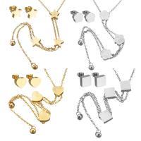 Edelstahl Mode Schmuckset, Ohrring & Halskette, mit Verlängerungskettchen von 2Inch, plattiert, Oval-Kette & verschiedene Stile für Wahl & für Frau, Länge:ca. 20 ZollInch, 5SetsSatz/Menge, verkauft von Menge