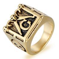 Edelstahl Herren-Fingerring, Titanstahl, goldfarben plattiert, poliert & verschiedene Größen vorhanden & für den Menschen & Schwärzen, 17mm, Bohrung:ca. 15mm, verkauft von PC