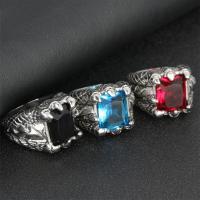 Edelstahl Herren-Fingerring, Titanstahl, mit Kristall, poliert, verschiedene Größen vorhanden & für den Menschen & facettierte & Schwärzen, keine, 17mm, Bohrung:ca. 15mm, verkauft von PC