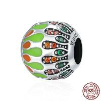 Thailand European Perlen, Trommel, Micro pave Zirkonia & ohne troll & Emaille, 10x11mm, Bohrung:ca. 4.5-5mm, verkauft von PC