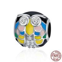 925 Sterlingsilber European Perlen, 925 Sterling Silber, Eule, Micro pave Zirkonia & ohne troll & Emaille, 10x10mm, Bohrung:ca. 4.5-5mm, verkauft von PC