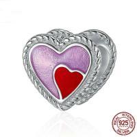 925 Sterlingsilber European Perlen, 925 Sterling Silber, Herz, ohne troll & Emaille, 7x7mm, Bohrung:ca. 4.5-5mm, verkauft von PC