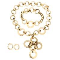 Edelstahl Mode Schmuckset, Armband & Ohrring & Halskette, goldfarben plattiert, Rundgliederkette & für Frau, 69x83mm, 30mm, 30mm, 21mm, 10.5mm, 21mm, Länge:ca. 18 ZollInch, ca. 10 ZollInch, verkauft von setzen