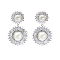 Messing Tropfen Ohrring, platiniert, für Frau & mit kubischem Zirkonia, frei von Nickel, Blei & Kadmium, 16x30mm, verkauft von Paar