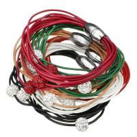 Zinklegierung Armband, PU Leder, mit Strass Ton befestigte Perelen, Edelstahl Magnetverschluss, für Frau & gemischt & Multi-Strang, originale Farbe, 10mm, Länge:ca. 8 ZollInch, 15SträngeStrang/Menge, verkauft von Menge