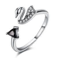 comeon® Finger-Ring, Thailand, Schwan, einstellbar & für Frau & mit kubischem Zirkonia, 8mm, Größe:8, verkauft von PC