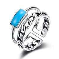 comeon® Finger-Ring, Thailand, mit Synthetische Türkis, einstellbar & für Frau, 10mm, Größe:8, verkauft von PC