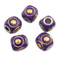 Indonesien Perlen, mit Zinklegierung, Trommel, Platinfarbe platiniert, frei von Blei & Kadmium, 12x11x11mm, Bohrung:ca. 3mm, verkauft von PC