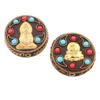 Indonesien Perlen, mit Harz & Zinklegierung, flache Runde, plattiert, verschiedene Stile für Wahl, frei von Blei & Kadmium, Bohrung:ca. 2mm, verkauft von PC