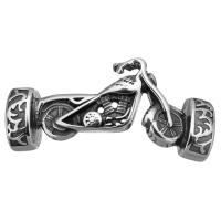 Edelstahl Armband Zubehör, Motorrad, Schwärzen, 45.50x18x9mm, Bohrung:ca. 12.5x6.8mm, 10PCs/Menge, verkauft von Menge
