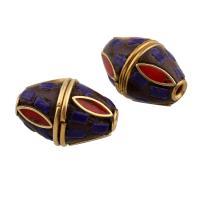 Indonesien Perle, mit Zinklegierung, Olive, goldfarben plattiert, frei von Blei & Kadmium, 12.50x18x12.50mm, Bohrung:ca. 1mm, verkauft von PC