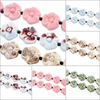 Glasierte Porzellan Perlen, Blume, glaciert, keine, 35x35x10mm, Bohrung:ca. 2mm, 10PCs/Strang, 10SträngeStrang/Tasche, verkauft per ca. 16 ZollInch Strang