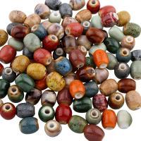 Glasierte Porzellan Perlen, Trommel, glaciert, keine, 10x13mm, Bohrung:ca. 3mm, 100PCs/Tasche, verkauft von Tasche