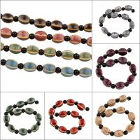 Glasierte Porzellan Perlen, glaciert, keine, 10x14mm, Bohrung:ca. 3mm, 10PCs/Strang, 10SträngeStrang/Tasche, verkauft per ca. 7.5 ZollInch Strang