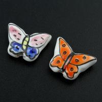 Porzellan Schmuckperlen, Schmetterling, glaciert, keine, 17x14x5mm, Bohrung:ca. 2mm, 100PCs/Tasche, verkauft von Tasche