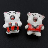 Porzellan Schmuckperlen, Schwein, glaciert, keine, 14x18x10mm, Bohrung:ca. 2mm, 100PCs/Tasche, verkauft von Tasche