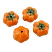 Porzellan Schmuckperlen, Kürbis, glaciert, 17x10mm, Bohrung:ca. 2mm, 100PCs/Tasche, verkauft von Tasche