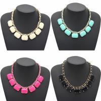 Mode-Halskette, Zinklegierung, mit Wollschnur & Acryl, mit Verlängerungskettchen von 4.8cm, goldfarben plattiert, für Frau, keine, frei von Blei & Kadmium, 300mm, verkauft per ca. 11.5 ZollInch Strang