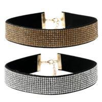 Mode-Halskette, Stoff, mit Zinklegierung, mit Verlängerungskettchen von 5cm, für Frau & mit Strass, keine, 300mm, verkauft per ca. 11.5 ZollInch Strang