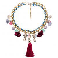 Zinklegierung Halskette, mit Seidenblume & Nylonschnur & Muschel, mit Verlängerungskettchen von 3.14lnch, goldfarben plattiert, Doppelgliederkette & für Frau, 110mm, verkauft per ca. 17.1 ZollInch Strang