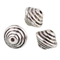 Verkupfertes Kunststoff-Perlen, Verkupferter Kunststoff, antik silberfarben plattiert, 11x14mm, Bohrung:ca. 1mm, 20PCs/Tasche, verkauft von Tasche