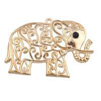 Zinklegierung Tier Anhänger, Elephant, goldfarben plattiert, mit Strass, frei von Blei & Kadmium, 55x40x6mm, Bohrung:ca. 2mm, verkauft von PC