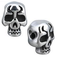 Edelstahl Perlen Einstellung, Schädel, Schwärzen, 10x13x9mm, Bohrung:ca. 2mm, Innendurchmesser:ca. 3mm, 10PCs/Menge, verkauft von Menge