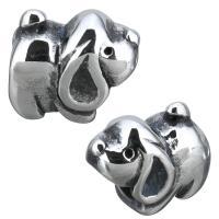 Edelstahl-Perlen mit großem Loch, Edelstahl, Hund, Schwärzen, 13.50x12.50x9mm, Bohrung:ca. 5.5mm, 10PCs/Menge, verkauft von Menge