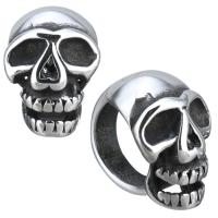 Edelstahl-Perlen mit großem Loch, Edelstahl, Schädel, Schwärzen, 9x13x13mm, Bohrung:ca. 8mm, 10PCs/Menge, verkauft von Menge