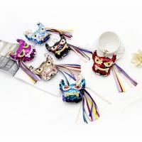Schlüsselanhänger, PU Leder, mit Kunststoff Pailletten & Satinband & Zinklegierung, Eule, goldfarben plattiert, mit Strass, keine, frei von Nickel, Blei & Kadmium, 92x220mm, verkauft von PC
