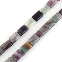 lila Fluorit Perle, Rechteck, 18x13x7mm, Bohrung:ca. 1.5mm, ca. 21PCs/Strang, verkauft per ca. 15 ZollInch Strang