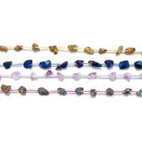 Natürlicher Quarz Perlen Schmuck, plattiert, keine, 8-15x5-8x5-8mm, Bohrung:ca. 1mm, ca. 25PCs/Strang, verkauft per ca. 16.5 ZollInch Strang