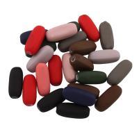Acryl Perle, Trommel, gummierte, gemischte Farben, 14x6x5.50mm, Bohrung:ca. 1mm, ca. 340PCs/Tasche, verkauft von Tasche
