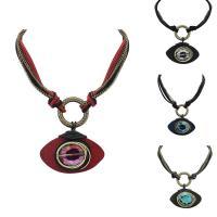 Zinklegierung Halskette, mit Eisenkette & Baumwollsamt & Kristall, Pferdeauge, antike Bronzefarbe plattiert, Twist oval & für Frau & facettierte, keine, frei von Blei & Kadmium, 36cm, verkauft per ca. 20.5 ZollInch Strang