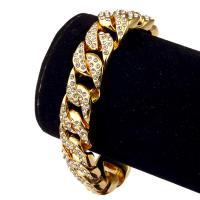 Zinklegierung Armband, goldfarben plattiert, unisex & Kandare Kette & mit Strass, frei von Nickel, Blei & Kadmium, 14mm, Länge:ca. 7.874 ZollInch, verkauft von setzen