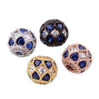 Befestigte Zirkonia Perlen, Messing, rund, plattiert, Micro pave Zirkonia, keine, frei von Nickel, Blei & Kadmium, 10mm, Bohrung:ca. 2mm, verkauft von PC