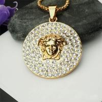 Zinklegierung Pullover Halskette, flache Runde, goldfarben plattiert, unisex & Kastenkette & mit Strass, frei von Nickel, Blei & Kadmium, 3mm, verkauft per ca. 29.5 ZollInch Strang