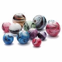 Harz Schmuckperlen, rund, verschiedene Größen vorhanden, gemischte Farben, Bohrung:ca. 1mm, 100PCs/Tasche, verkauft von Tasche