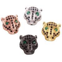 Befestigte Zirkonia Perlen, Messing, Leopard, plattiert, Micro pave Zirkonia, keine, frei von Nickel, Blei & Kadmium, 11.50x12.50x8mm, Bohrung:ca. 1mm, verkauft von PC