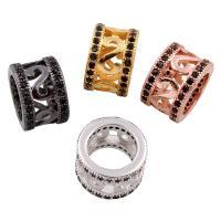 Befestigte Zirkonia Perlen, Messing, Zylinder, plattiert, Micro pave Zirkonia & großes Loch, keine, frei von Nickel, Blei & Kadmium, 10x7x10mm, Bohrung:ca. 6x6mm, verkauft von PC