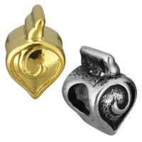 Edelstahl European Perlen, Herz, plattiert, ohne troll, keine, 9x13x10mm, Bohrung:ca. 5mm, 10PCs/Tasche, verkauft von Tasche