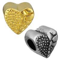 Edelstahl European Perlen, Herz, plattiert, ohne troll, keine, 11x11x8mm, Bohrung:ca. 5mm, 10PCs/Tasche, verkauft von Tasche