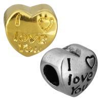 Edelstahl European Perlen, Herz, Wort ich liebe dich, plattiert, ohne troll, keine, 11x11x8.50mm, Bohrung:ca. 5mm, 10PCs/Tasche, verkauft von Tasche