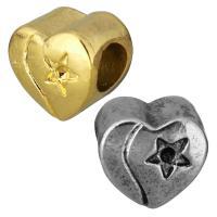 Edelstahl European Perlen, Herz, plattiert, mit einem Muster von Stern & ohne troll, keine, 11x10x8mm, Bohrung:ca. 5mm, Innendurchmesser:ca. 1mm, 10PCs/Tasche, verkauft von Tasche
